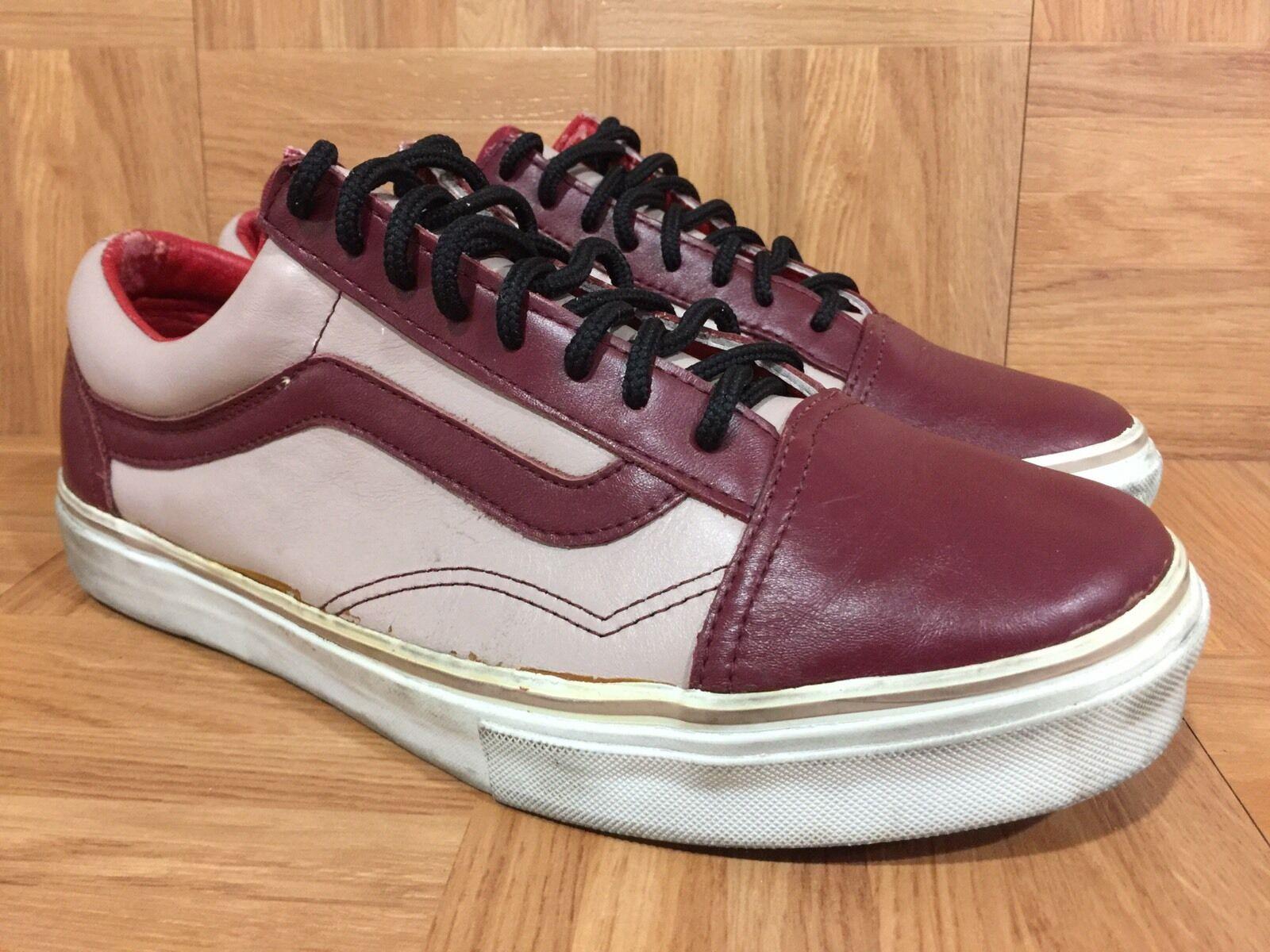 RARE VANS Old Skool Vault Burgundy Premium Leather Pink Sz 10.5 Vintage VTG LE