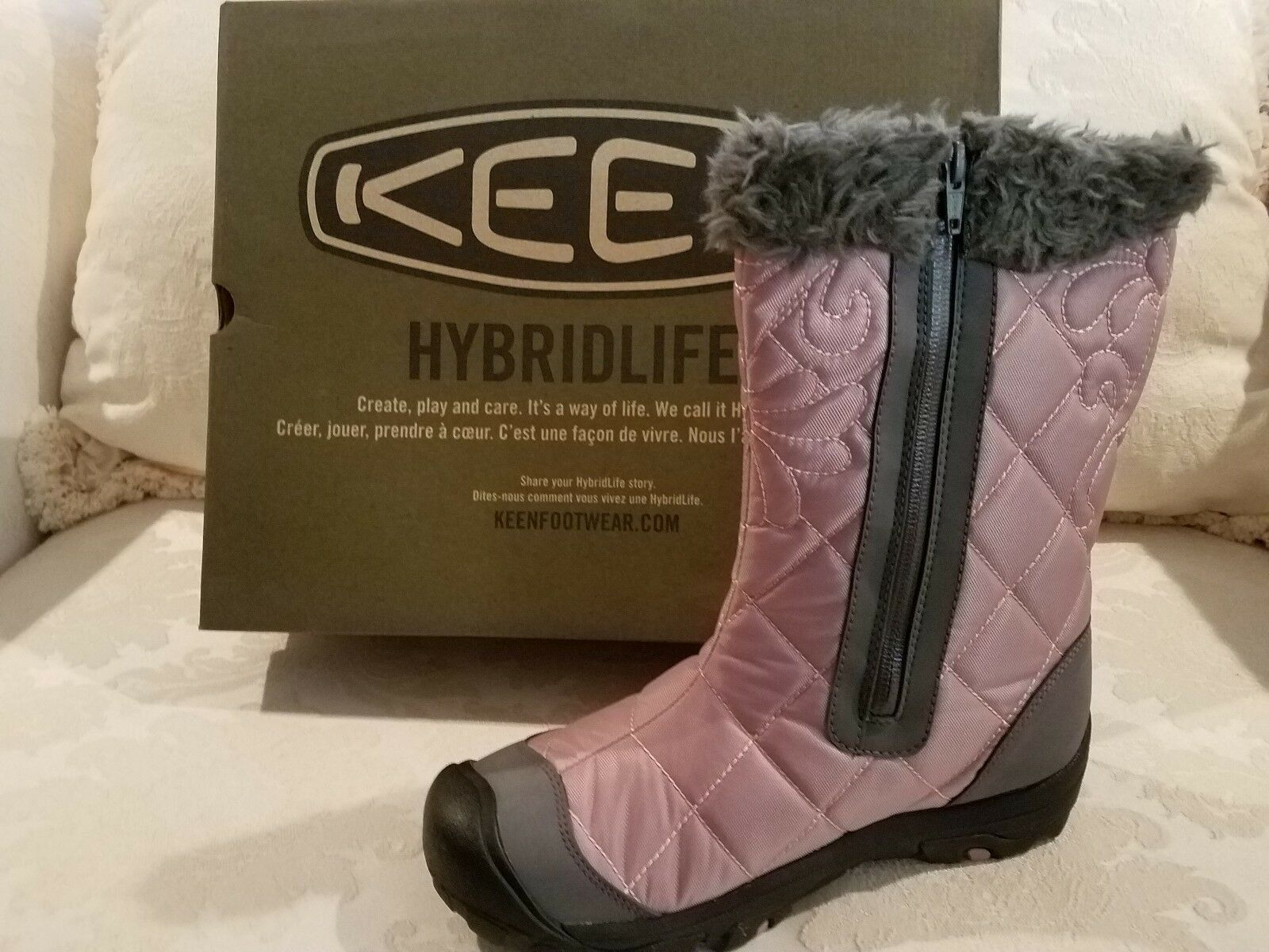 KEEN WATERPROOF QUILTED BOOTS GARGOYLE BURLINGTON NIB NIB NIB FREE SHIP FOR PET CHARITY 473ac1