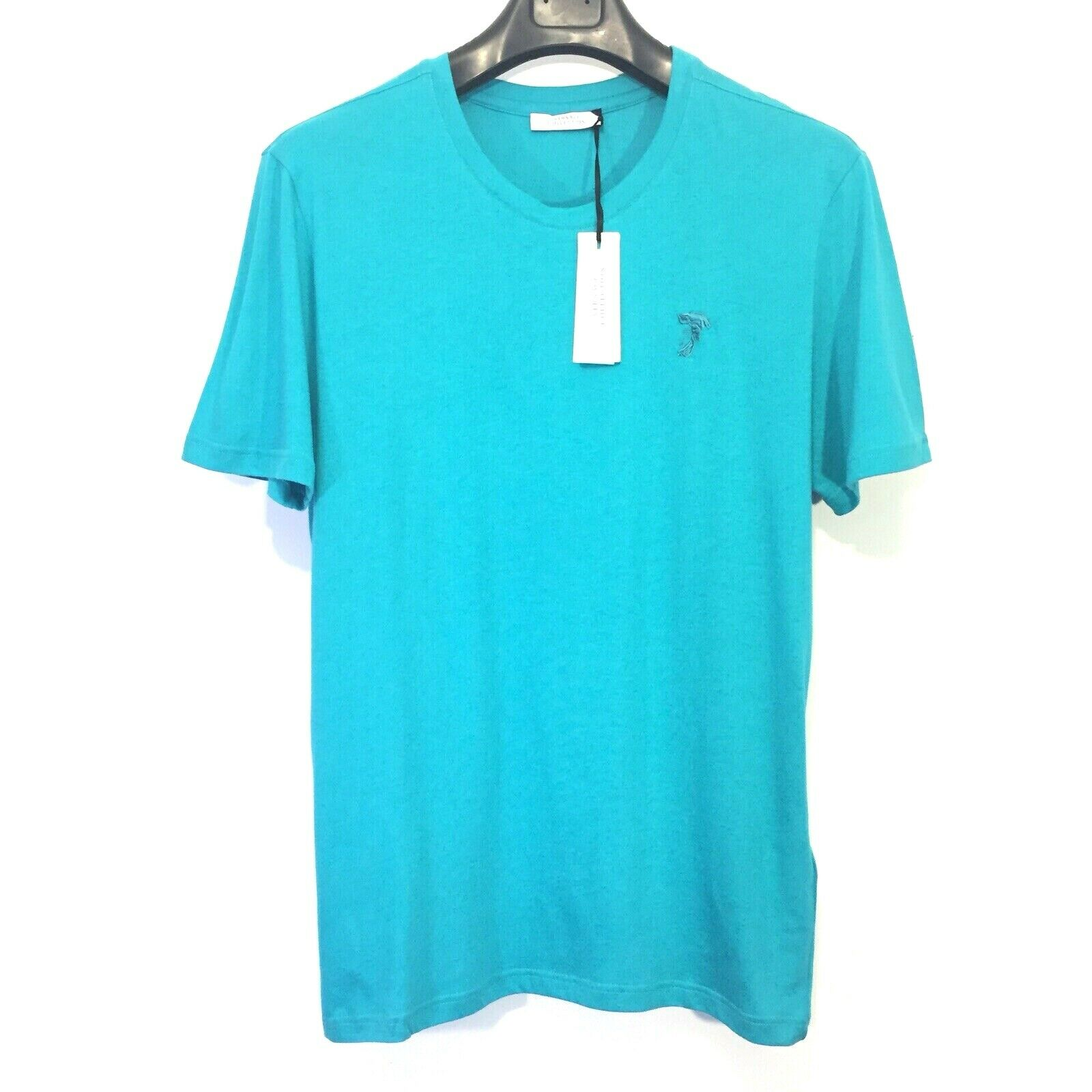 VERSACE COLLECTION Mens Crew Short Sleeve T Shirt Logo Turquoise L (MSRP  95)