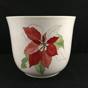 VTG-Cachepot-Flower-Holder-by-Block-Watercolors-Poinsettia-Christmas-Portugal
