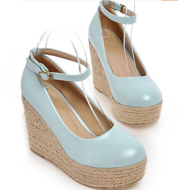 Sandali donna azzurro chiusi corda corda corda  zeppa plateau 13 cm eleganti e comodi 9230 a5475a