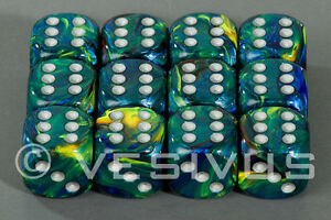 Dice Chessex Festive Green Set 12d6 D6 Block Blue Yellow Swirl Marble D D 27645 601982025434 Ebay
