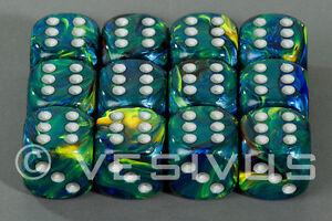 Dice Chessex Festive Green Set 12d6 D6 Block Blue Yellow Swirl Marble D D 27645 601982025434 Ebay