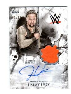 WWE-Jimmy-Uso-2018-Topps-Undisputed-Autograph-Relic-Card-SN-61-of-99