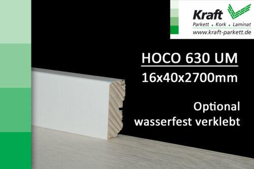 50lfm Sockelleisten Weiß, 16x40x2700mm, HOCO CUBE 630, Fichtenkern, wasserfest