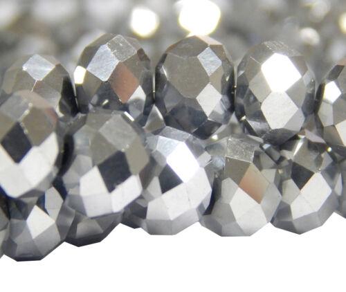 15 Fire-Polished Silber 10mm Rondell Tschechische Kristall Perlen Glas BEST X246