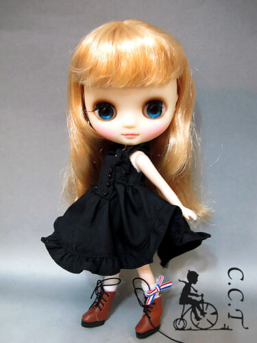 CCT Middie Blythe doll outfit pleated sleeveless dress with bead Black c-mb-045