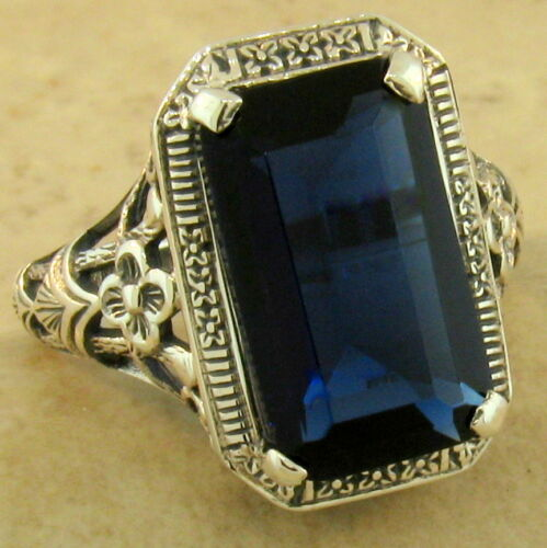 #1147 5 CT ROYAL BLUE SIM SAPPHIRE 925 STERLING SILVER ANTIQUE STYLE RING