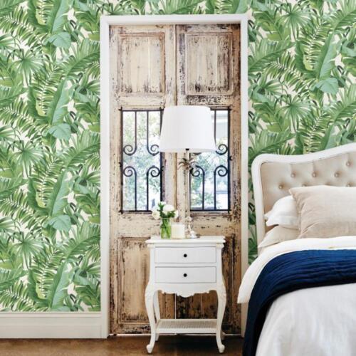 Vert Tropical feuilles papier peint sur Blanc Coller le mur Jungle Leaf FD24136