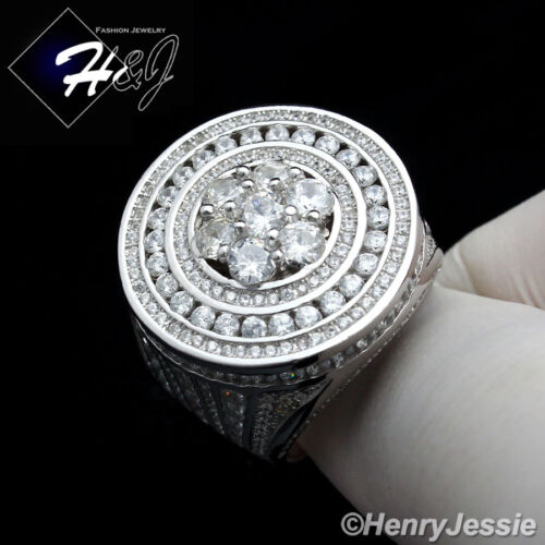 MEN 925 STERLING SILVER ICY DIAMOND ROUND BLING RING*SR42