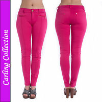 Ladies Leggings Jeggings Womens Zip Stretch Slim Fit Trousers Pink Size 8-14