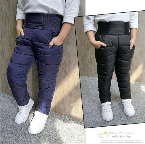 Kids Boys Cotton Thicken Winter Pants High Waist Pencil Skinny Trousers Outwear