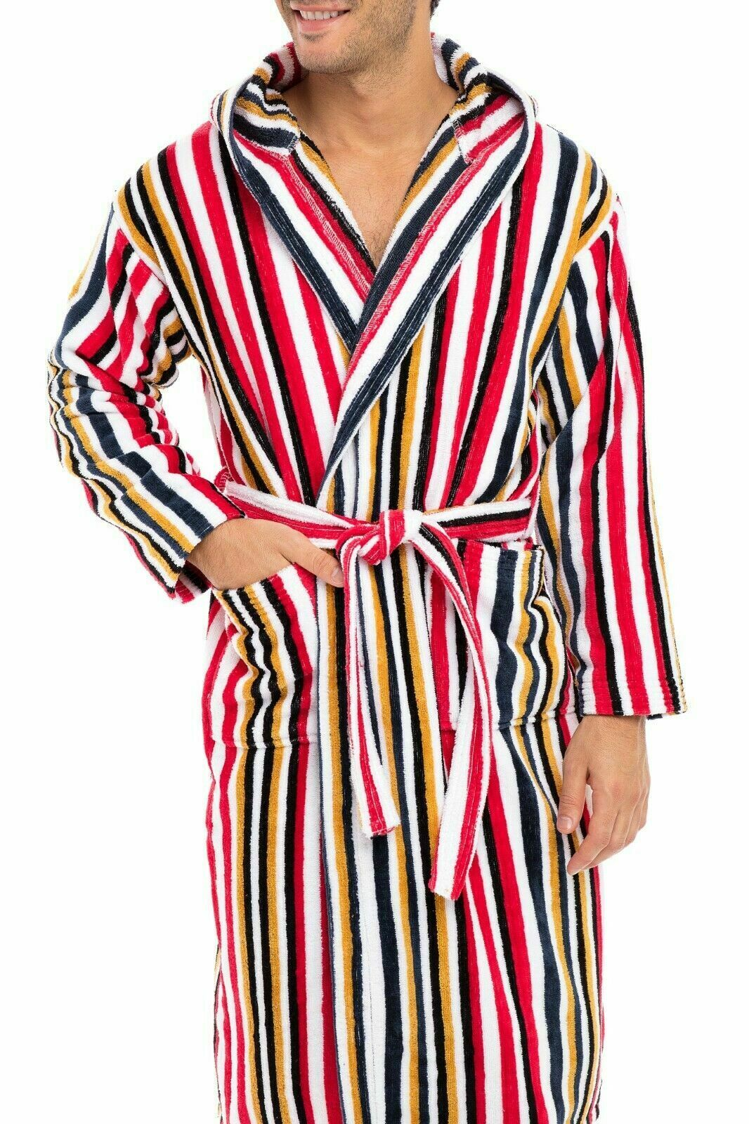 Men's Luxury Robes 100/% Terry Cotton Hooded Bathrobe Spa Robe Bath Robes