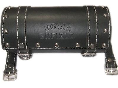 NEW BLACK STUDDED LEATHER TOOL ROLL BAG FOR ROYAL ENFIELD BULLET MOTORCYCLES