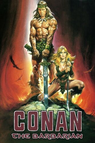 CONAN THE BARBARIAN Movie Silk Fabric POSTER Arnold Shwarzenegger