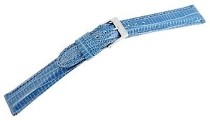 Echt-Leder-Uhren-Armband-Blau-16-mm-Dornschliesse-Ersatzband-X8000119160