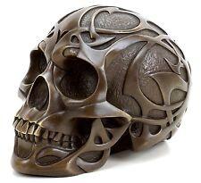 Modern Art - Tribal Skull - Tattoo Schädel - Totenkopf Bronzefigur sign. Stevens