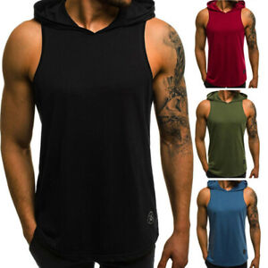AU-Men-039-s-Hooded-Vest-Tank-Sleeveless-Tops-Gym-Workout-Muscle-Casual-T-shirt