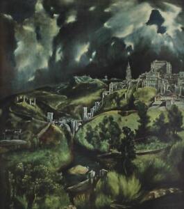 VIEW-OF-TOLEDO-El-Greco-1947-Lithograph-LANDSCAPE-Spanish-Renaissance-524P
