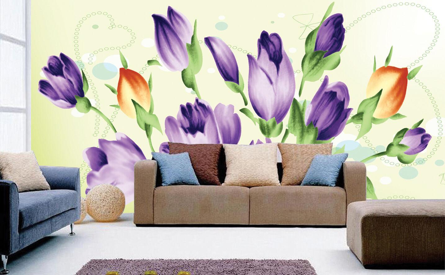 3D Art lila flower20 Wall Paper Murals Wall Print Decal Wall Deco AJ WALLPAPER