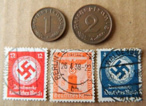 S31 Lot of Germany 1/&2 Reichspfennig coins and 3 stamps with Swastika