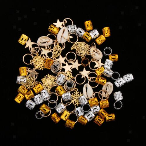 84pcs Mixed Dreadlock Shell Snowflake Hair Ring Braid Rings Loops Hairband