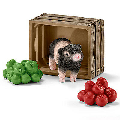 Schleich 42292 Mini Pig with Apples Crate Model Farm Animal Toy NIP