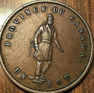 1852-LOWER-CANADA-QUEBEC-BANK-HALFPENNY-TOKEN-UN-SOU-Fantastic-example