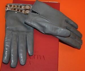 AUTHENTIC-NEW-VALENTINO-GRAY-LEATHER-ROCKSTUD-BEIGE-DOUBLE-STRAP-GLOVES-size-7-5