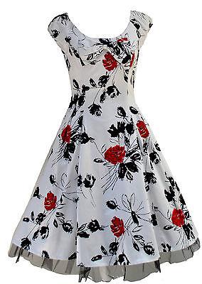 Retro Floral 1950/'s Netted Rockabilly Prom Tea Dress 8-18 BNWT