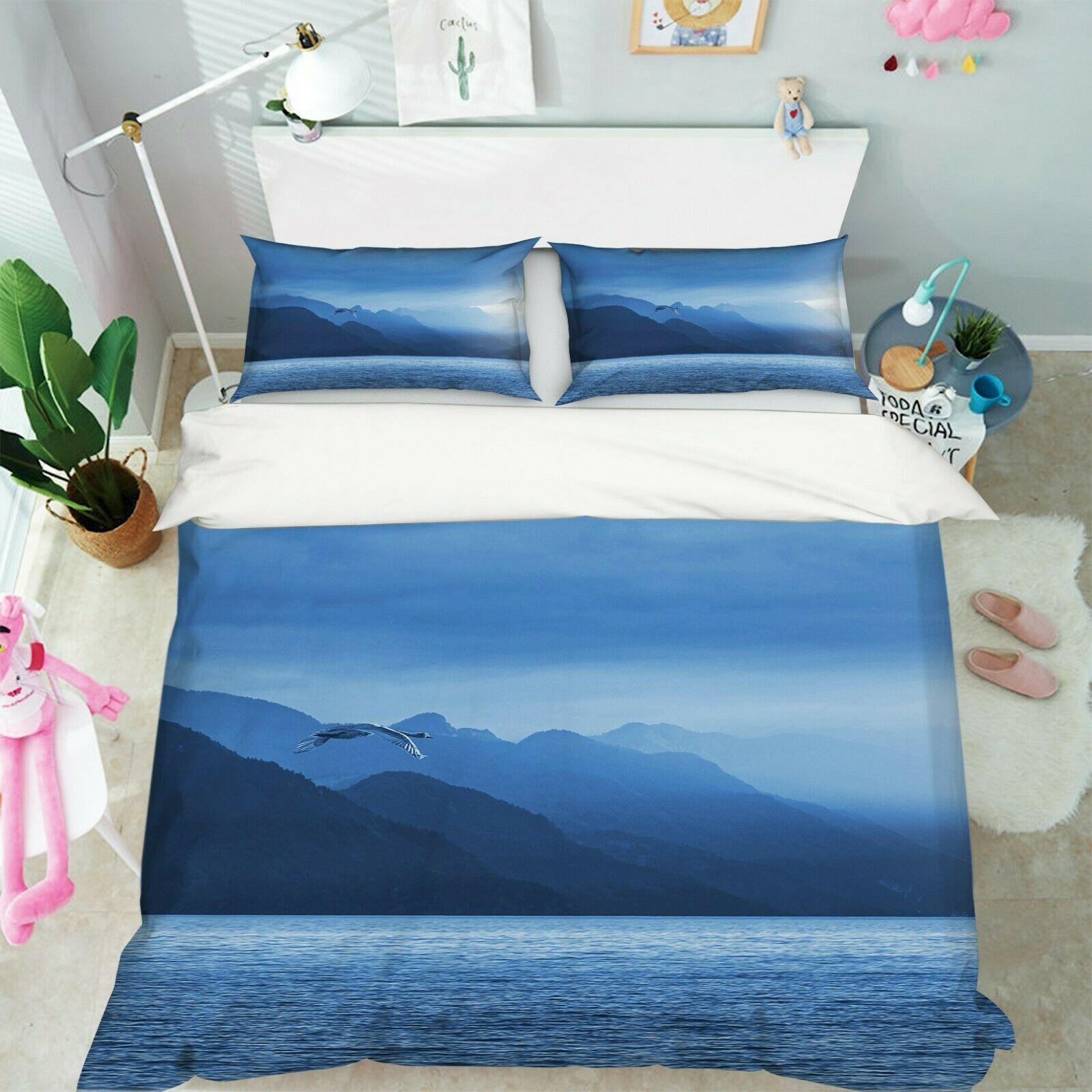 3D Lake Egret O70 Animal Bed Pillowcases Quilt Duvet Cover Set Queen King Amy