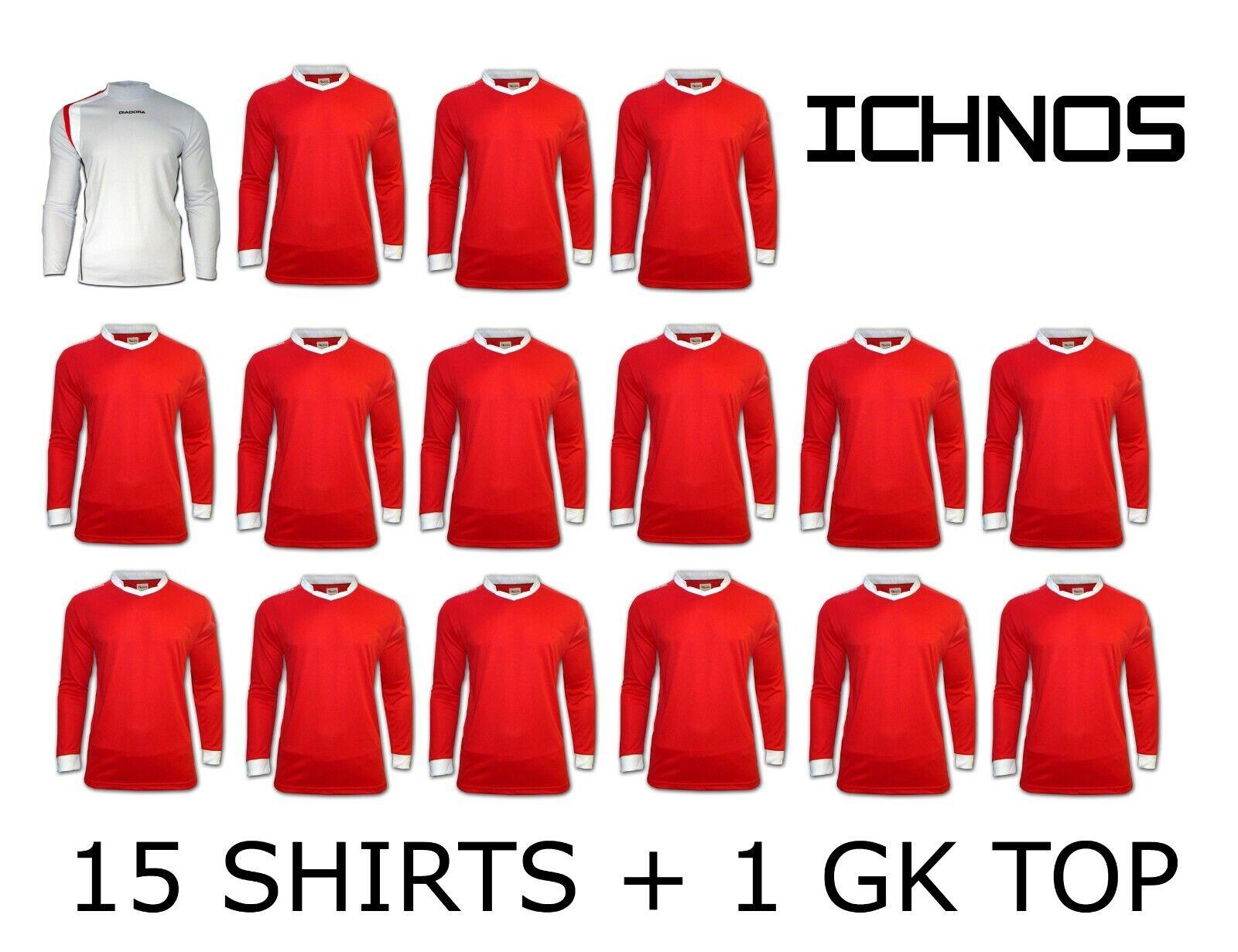 ICHNOS Rojo Adulto equipo Match Day Kit Fútbol Camisas - 15 jugadores + 1 portero Top