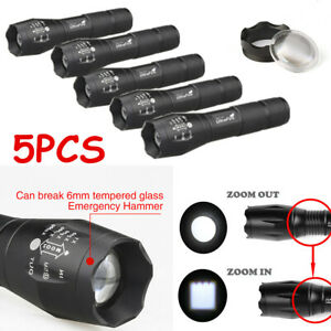 5PCS-Ultrafire-Tactical-LED-T6-Flashlight-Torch-50000LM-Zoomable-18650-Battery