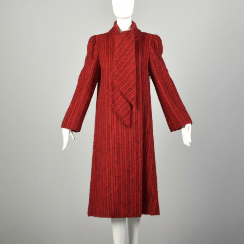 Medium 1980s Pauline Trigere Coat Red Black Strip… - image 1