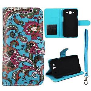 For-Samsung-Galaxy-S3-i9300-Aqua-Pink-Paisley-Flip-Wallet-Leather-Case-Cover-Glo