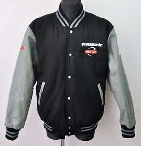 PANASONIC-Wool-Bomber-Jacket-Leahter-Sleeves-Men-039-s-2XL-Vtg-Coat-Hipster-Black