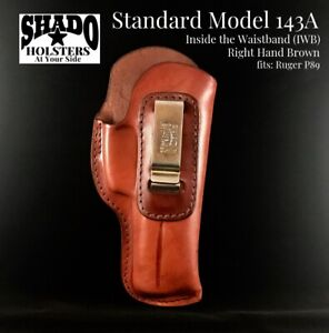SHADO-Leather-Holster-Standard-Model-143A-Right-Hand-Brown-IWB-fits-Ruger-P89
