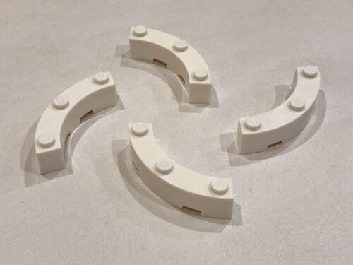 BB2B 4x LEGO WHITE CURVED PIECES 4x4 MACARONI P//N 48092 NEW