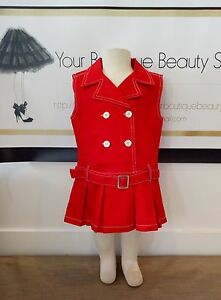 COOKIE-CLUB-RED-DRESS-BABY-TODDLER-COTTON-CUTE-CASUAL-UNIQUE-VINTAGE-BELT-CLASSY