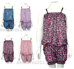 kids girls chain print playsuit in pink or white  ages 3-14