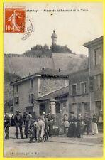 cpa 38 - CHÂTONNAY (Isère) Place de la BASCULE et la TOUR Fontaine Animée RARE