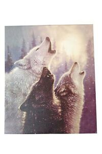 Triple-Wolf-Snow-Howl-Wall-Canvas-Artwork-Art-Hanging-60cm-x-50cm