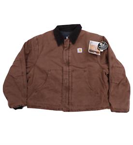 NOS Vtg 90s Carhartt Mens 2XL Arctic Quilt Lined Sandstone Duck Jacket Brown USA
