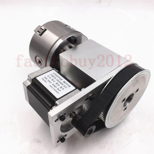 4th Rotary Router Rotational Axis Hollow Shaft 3Jaw 100mm NEMA23 Motor Tailstock