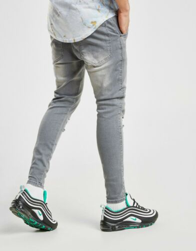 SIZE - ALL SikSilk Mens RIPPED DENIM JEANS GREY Brand New **RRP £50