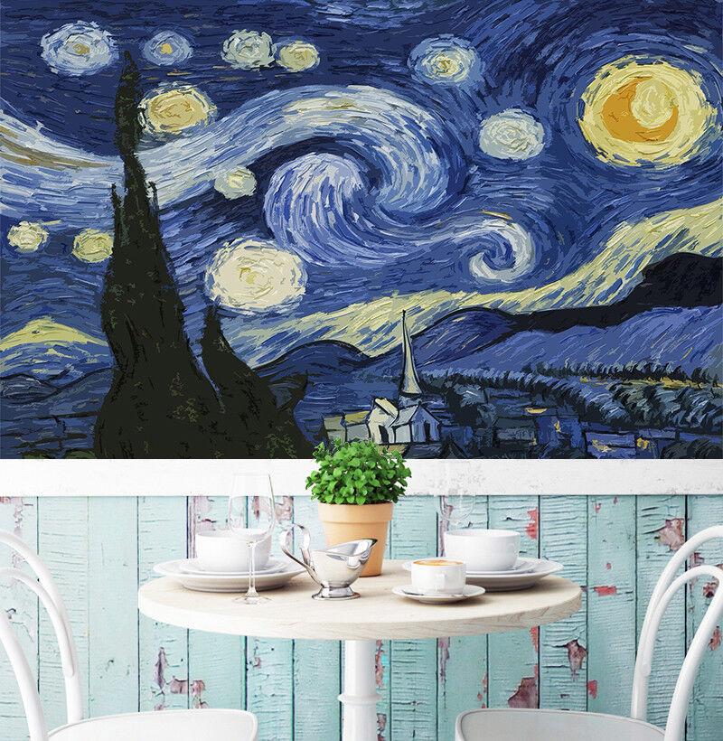 3D Stars Sky Gogh 854 Wall Paper Murals Wall Print Wall Wallpaper Mural AU Kyra