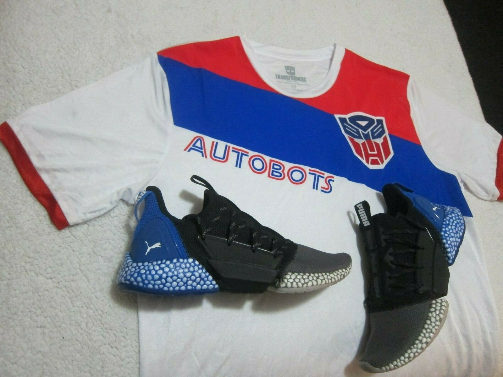 Puma Hybrids Size 10 & Transformers Active Shirt Red White bluee