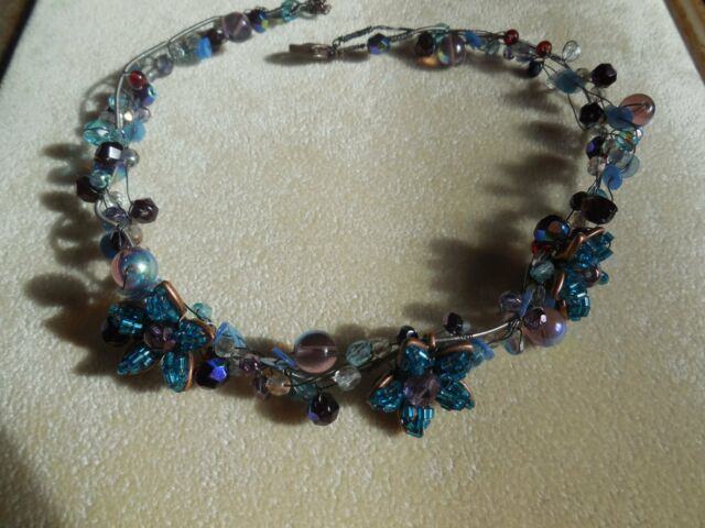 New VINTAGE Multi Color Beaded Floral Boho Fairy necklace /choker Stunning