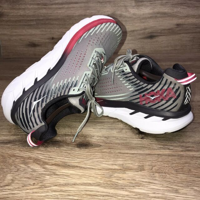 Hoka One One Clifton 5 Road Running Shoe Grey Red Women's Size 10.5 Comfort