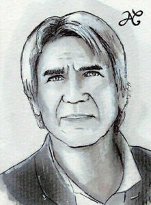 ORIGINAL Sketch Card Drawing Portrait Han Solo STAR WARS Harrison Ford PSC 1/1